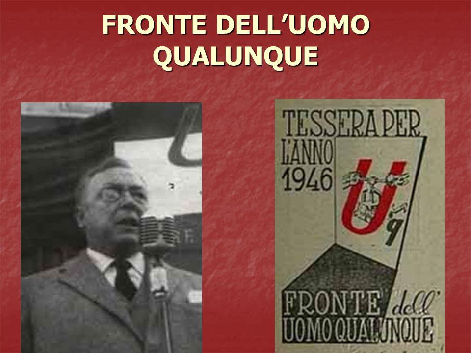 MOVIMENTO SOCIALE ITALIANO Il MSI viene fondato a Roma nel dicembre 1946 da giovani ex fascisti sostenuti da gerarchi del vecchio regime.