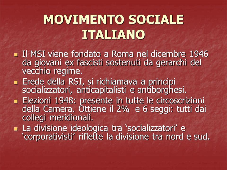 MOVIMENTO SOCIALE ITALIANO Il MSI viene fondato a Roma nel dicembre 1946 da giovani ex fascisti sostenuti da gerarchi del vecchio regime. Il MSI viene
