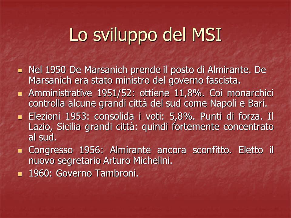 Lo sviluppo del MSI Nel 1950 De Marsanich prende il posto di Almirante. De Marsanich era stato ministro del governo fascista. Nel 1950 De Marsanich pr