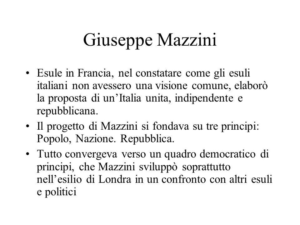 Giuseppe Mazzini Esule in Francia, nel constatare come gli esuli italiani non avessero una visione comune, elaborò la proposta di unItalia unita, indipendente e repubblicana.
