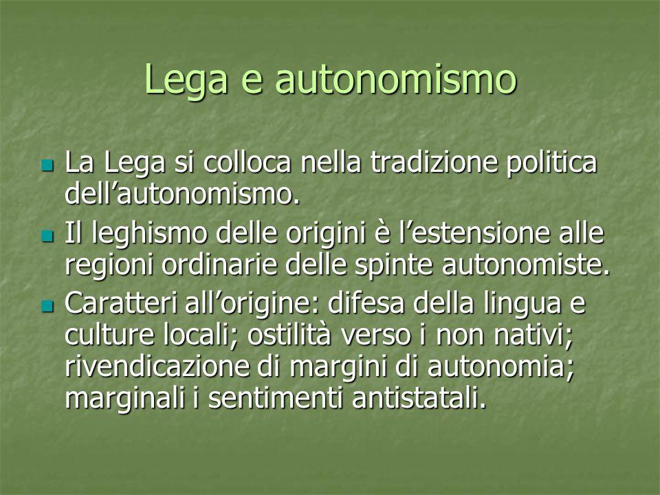Lega e autonomismo La Lega si colloca nella tradizione politica dellautonomismo.