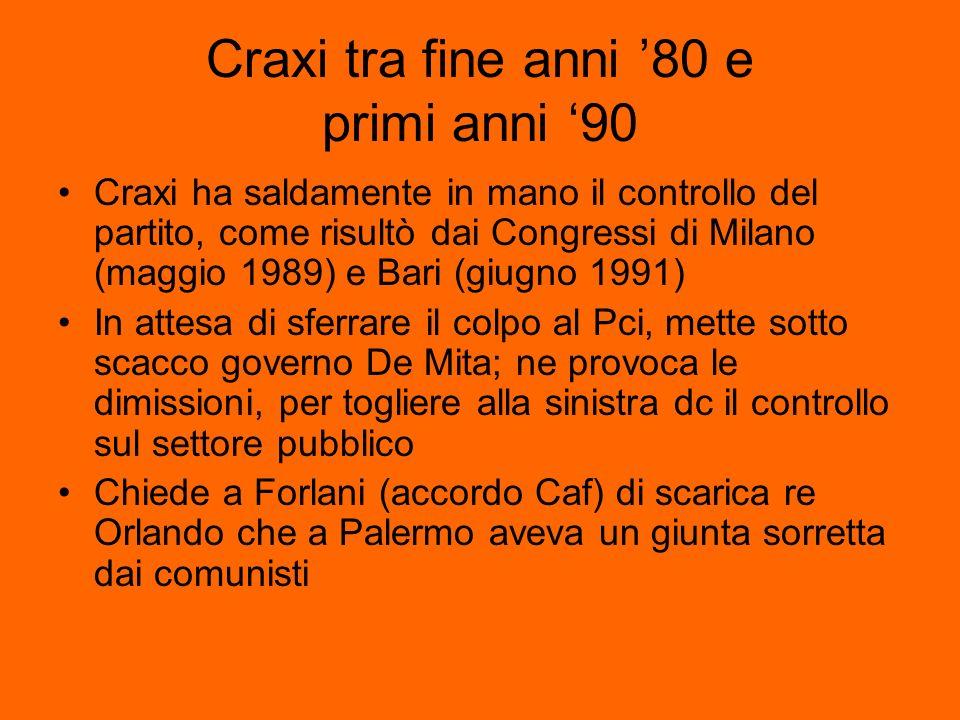 Craxi tra fine anni 80 e primi anni 90 Craxi ha saldamente in mano il controllo del partito, come risultò dai Congressi di Milano (maggio 1989) e Bari