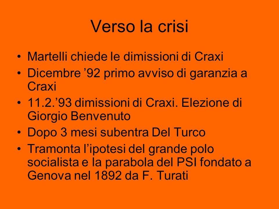 Verso la crisi Martelli chiede le dimissioni di Craxi Dicembre 92 primo avviso di garanzia a Craxi 11.2.93 dimissioni di Craxi. Elezione di Giorgio Be