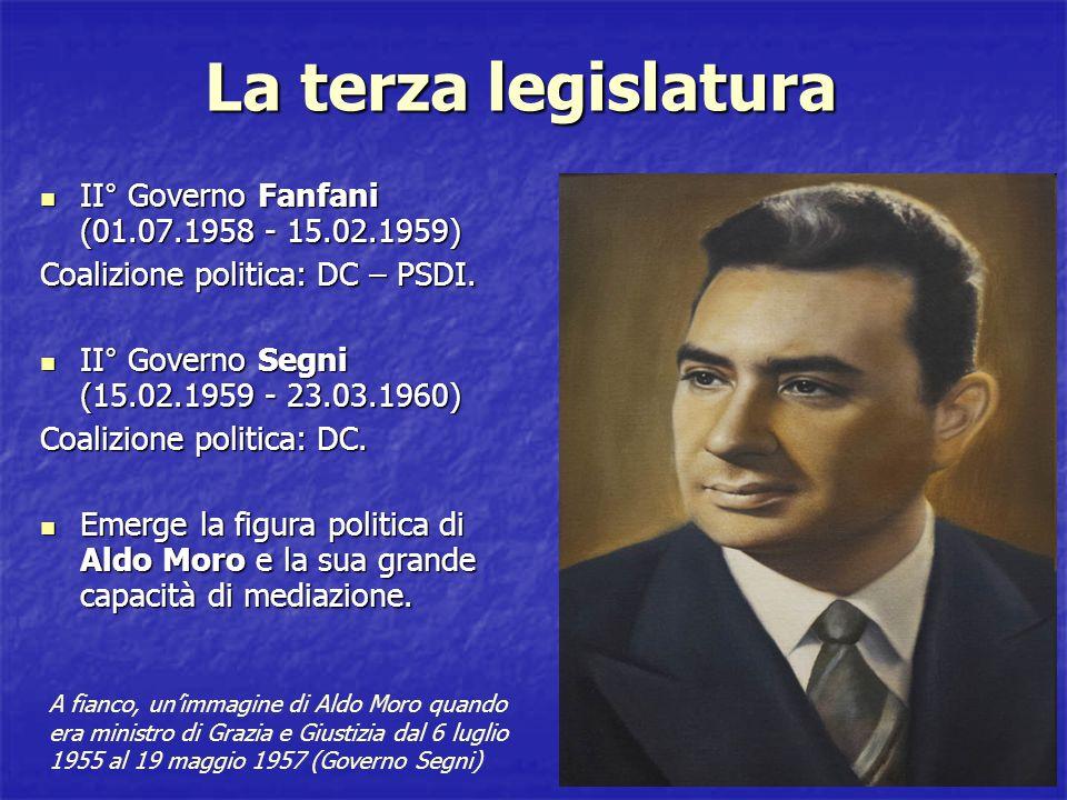 Il Governo Tambroni Primavera 60 Fernando Tambroni (DC) non riuscendo a trovare un accordo con socialdemocratici e repubblicani, formò un governo con lappoggio della destra scatenando le reazioni della sinistra Dc che si dimise dal Governo.