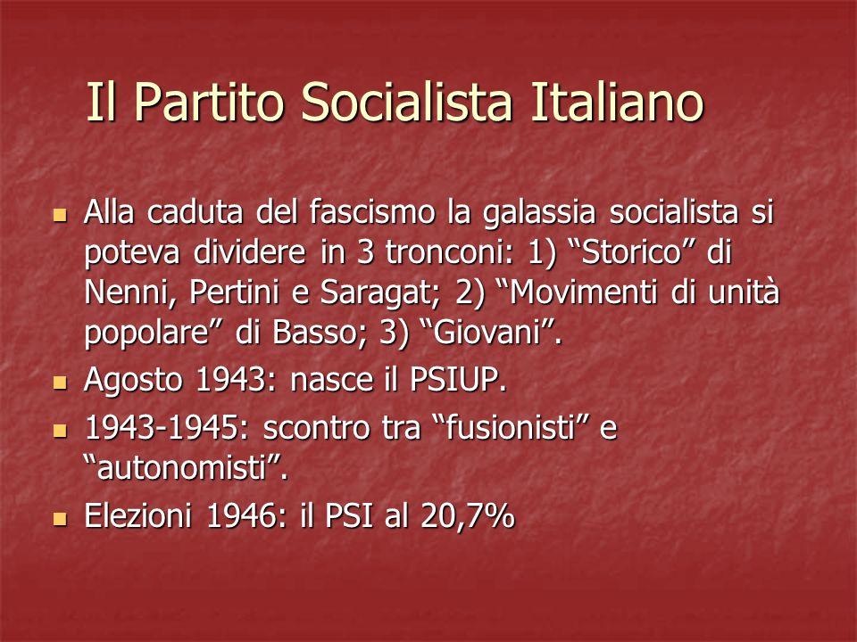 Il Partito Socialista Italiano Alla caduta del fascismo la galassia socialista si poteva dividere in 3 tronconi: 1) Storico di Nenni, Pertini e Saraga