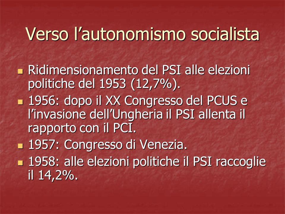 Verso lautonomismo socialista Ridimensionamento del PSI alle elezioni politiche del 1953 (12,7%). Ridimensionamento del PSI alle elezioni politiche de