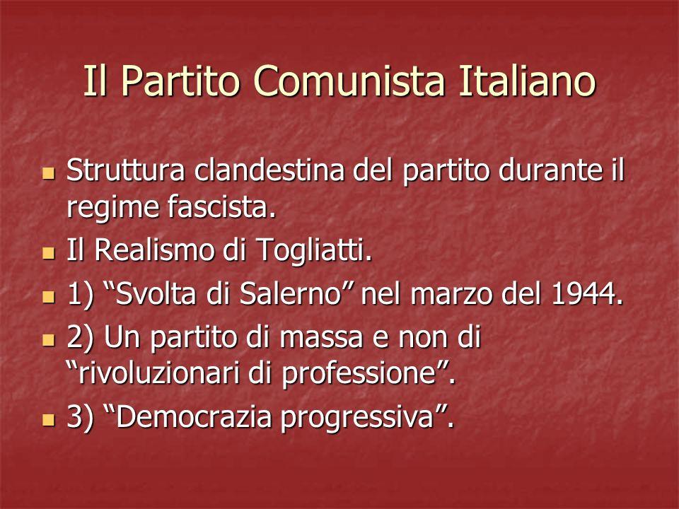 Il Partito Comunista Italiano Struttura clandestina del partito durante il regime fascista. Struttura clandestina del partito durante il regime fascis
