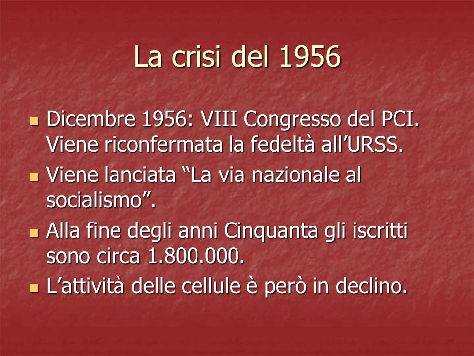 La crisi del 1956 Dicembre 1956: VIII Congresso del PCI. Viene riconfermata la fedeltà allURSS. Dicembre 1956: VIII Congresso del PCI. Viene riconferm