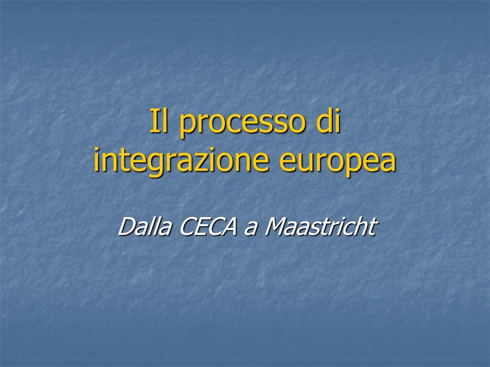 Il processo di integrazione europea Dalla CECA a Maastricht
