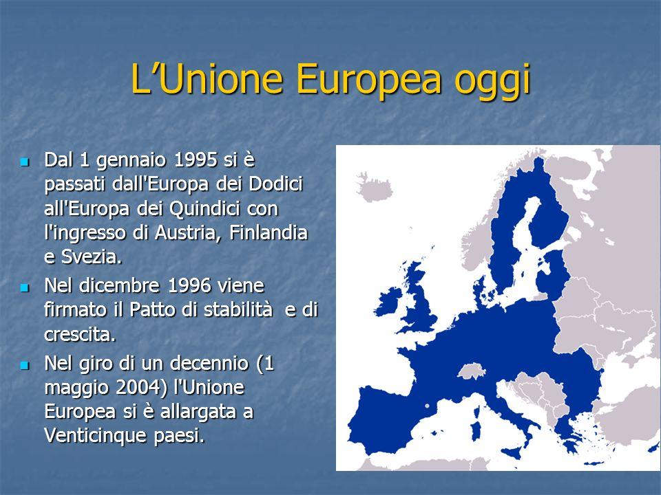 LUnione Europea oggi Dal 1 gennaio 1995 si è passati dall'Europa dei Dodici all'Europa dei Quindici con l'ingresso di Austria, Finlandia e Svezia. Dal