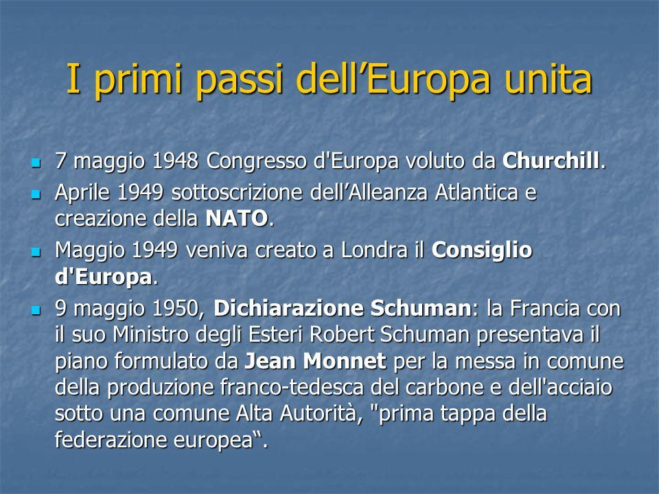 I primi passi dellEuropa unita 7 maggio 1948 Congresso d'Europa voluto da Churchill. 7 maggio 1948 Congresso d'Europa voluto da Churchill. Aprile 1949