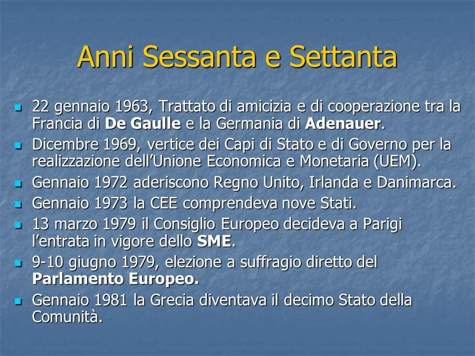 Anni Sessanta e Settanta 22 gennaio 1963, Trattato di amicizia e di cooperazione tra la Francia di De Gaulle e la Germania di Adenauer. 22 gennaio 196