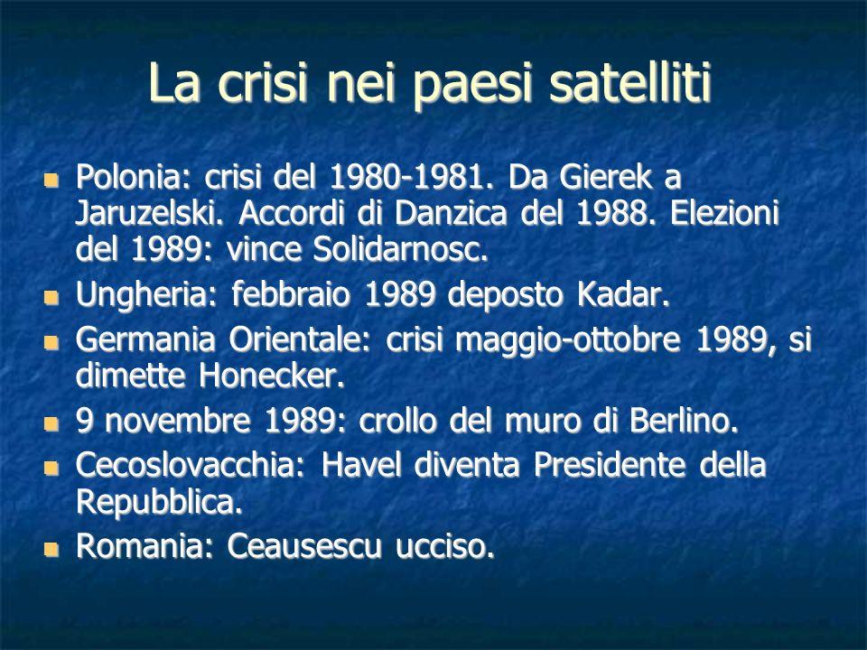 La crisi nei paesi satelliti Polonia: crisi del 1980-1981. Da Gierek a Jaruzelski. Accordi di Danzica del 1988. Elezioni del 1989: vince Solidarnosc.