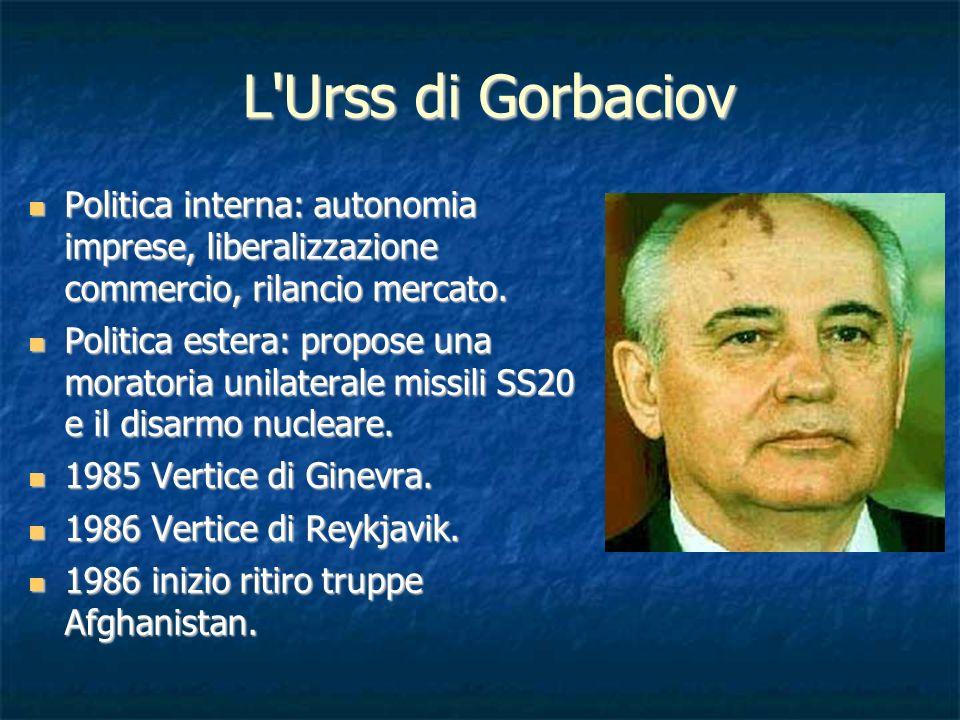 L'Urss di Gorbaciov Politica interna: autonomia imprese, liberalizzazione commercio, rilancio mercato. Politica interna: autonomia imprese, liberalizz