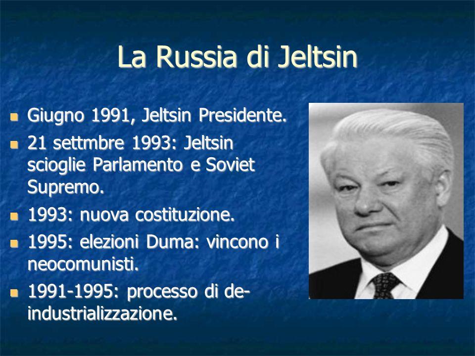 La Russia di Jeltsin Giugno 1991, Jeltsin Presidente. Giugno 1991, Jeltsin Presidente. 21 settmbre 1993: Jeltsin scioglie Parlamento e Soviet Supremo.