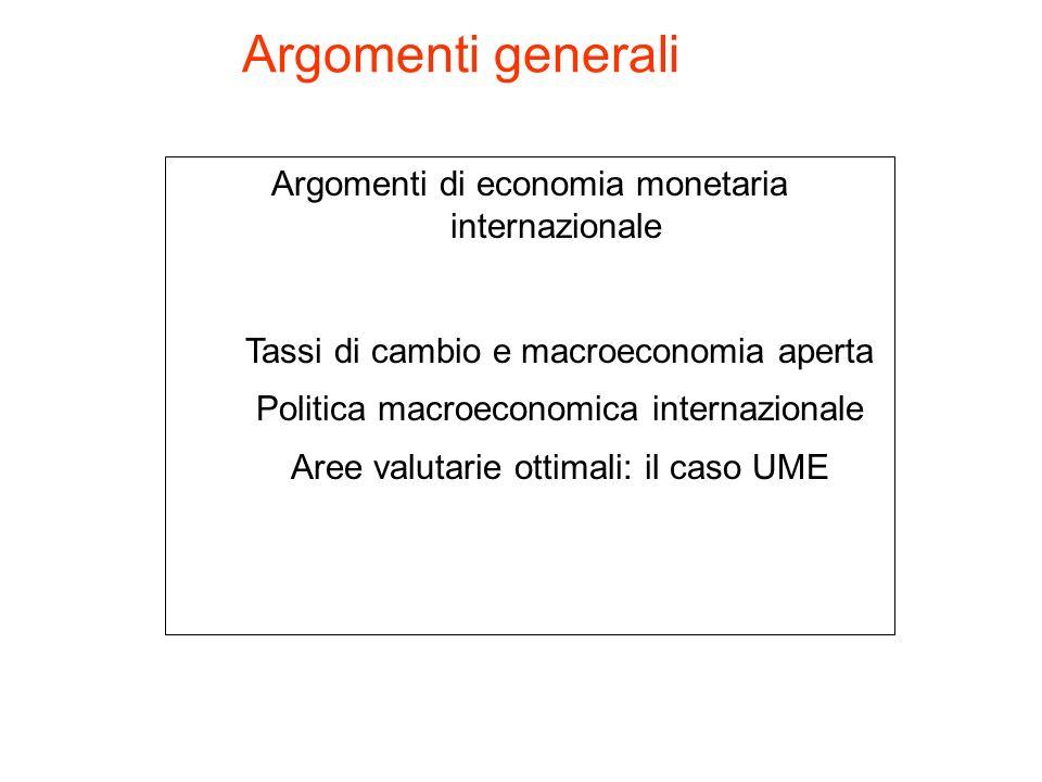 Argomenti generali Argomenti di economia monetaria internazionale Tassi di cambio e macroeconomia aperta Politica macroeconomica internazionale Aree v