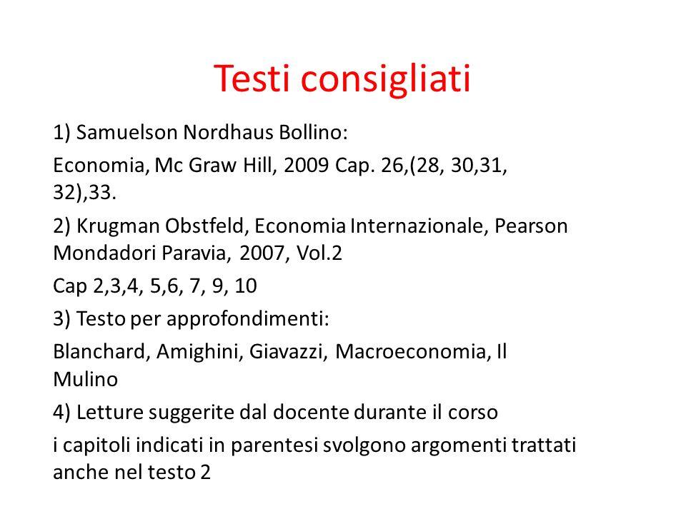 Testi consigliati 1) Samuelson Nordhaus Bollino: Economia, Mc Graw Hill, 2009 Cap. 26,(28, 30,31, 32),33. 2) Krugman Obstfeld, Economia Internazionale