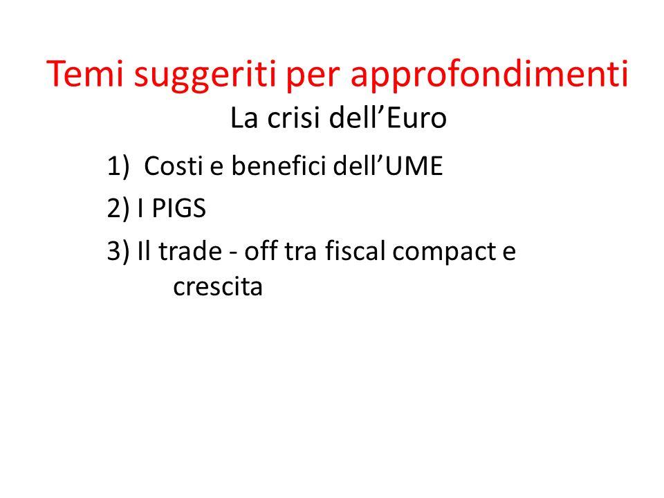 Temi suggeriti per approfondimenti La crisi dellEuro 1)Costi e benefici dellUME 2) I PIGS 3) Il trade - off tra fiscal compact e crescita