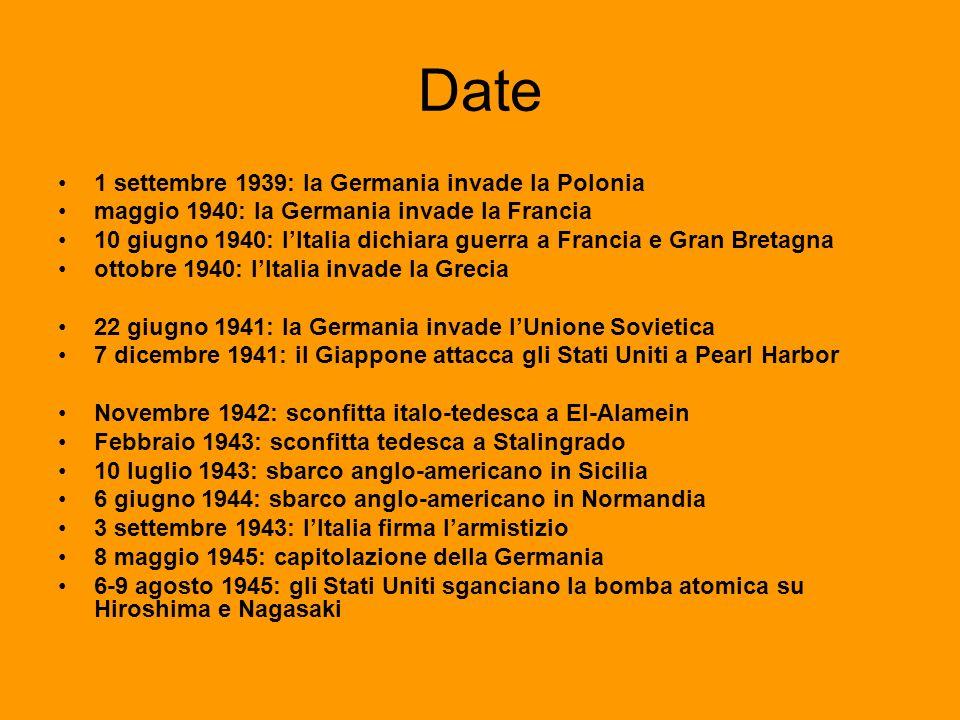 Date 1 settembre 1939: la Germania invade la Polonia maggio 1940: la Germania invade la Francia 10 giugno 1940: lItalia dichiara guerra a Francia e Gr