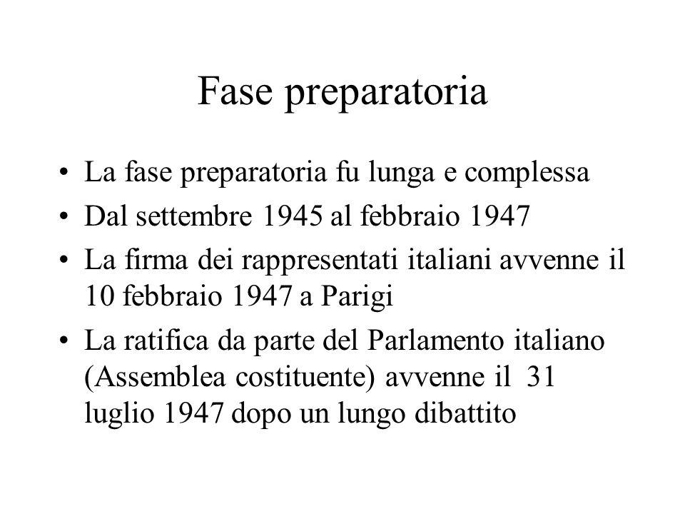 Fase preparatoria La fase preparatoria fu lunga e complessa Dal settembre 1945 al febbraio 1947 La firma dei rappresentati italiani avvenne il 10 febb