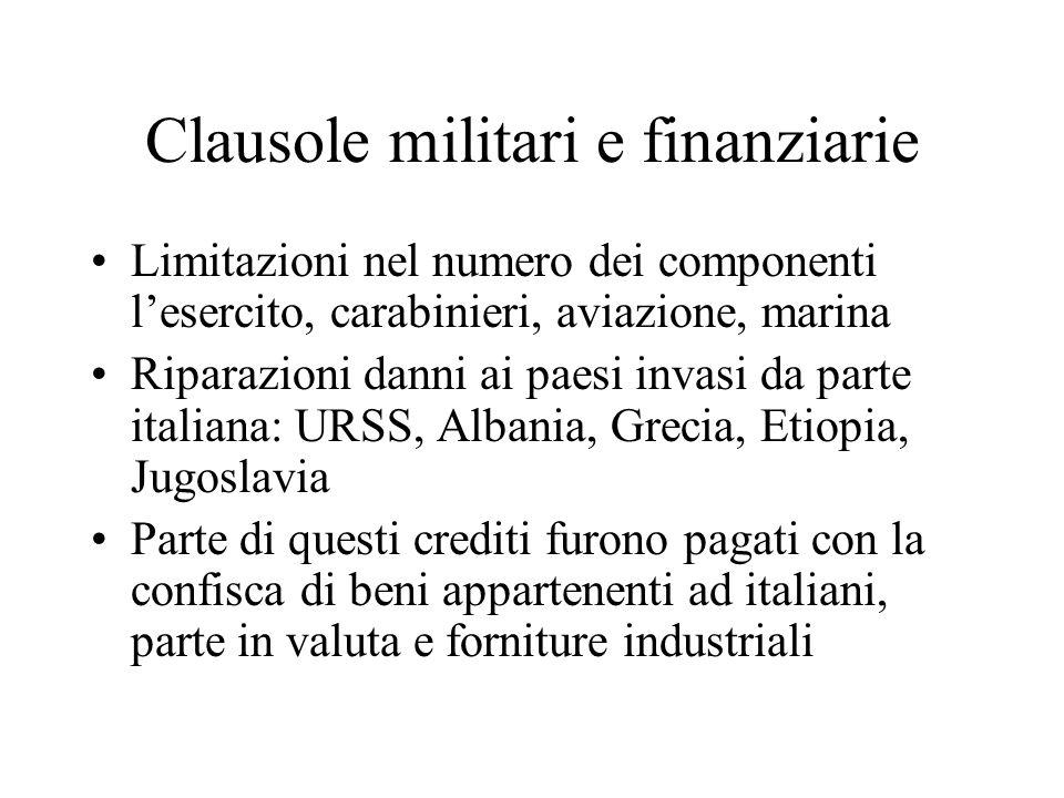 Clausole militari e finanziarie Limitazioni nel numero dei componenti lesercito, carabinieri, aviazione, marina Riparazioni danni ai paesi invasi da p