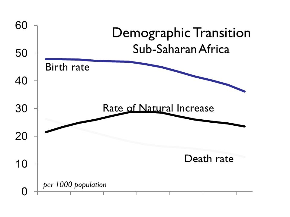 Birth rate Death rate Rate of Natural Increase Demographic Transition Sub-Saharan Africa per 1000 population David Lam, How the world survived the population bomb, University of Michigan Population Studies Center, 2011