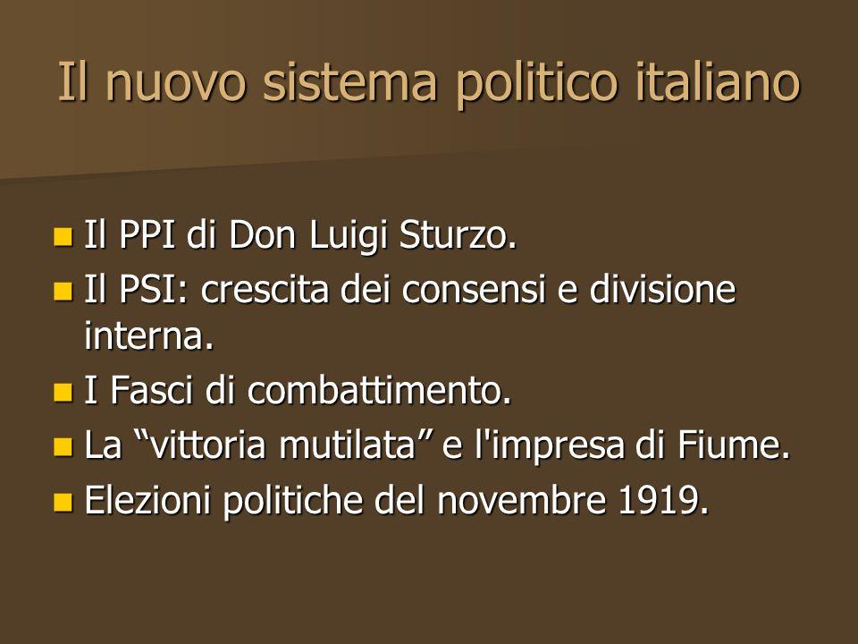 Il nuovo sistema politico italiano Il PPI di Don Luigi Sturzo. Il PPI di Don Luigi Sturzo. Il PSI: crescita dei consensi e divisione interna. Il PSI: