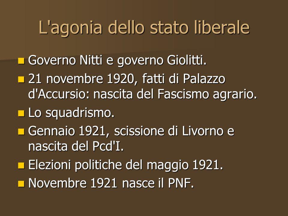 L'agonia dello stato liberale Governo Nitti e governo Giolitti. Governo Nitti e governo Giolitti. 21 novembre 1920, fatti di Palazzo d'Accursio: nasci