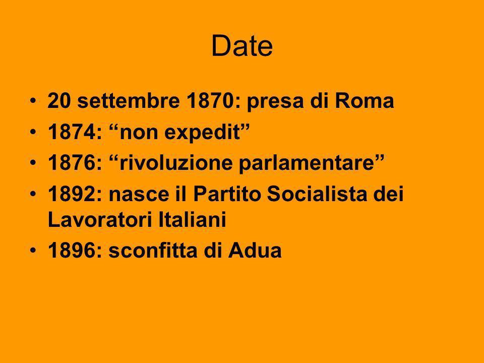 Date 20 settembre 1870: presa di Roma 1874: non expedit 1876: rivoluzione parlamentare 1892: nasce il Partito Socialista dei Lavoratori Italiani 1896: