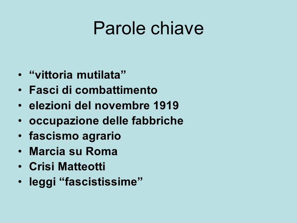 Parole chiave vittoria mutilata Fasci di combattimento elezioni del novembre 1919 occupazione delle fabbriche fascismo agrario Marcia su Roma Crisi Matteotti leggi fascistissime