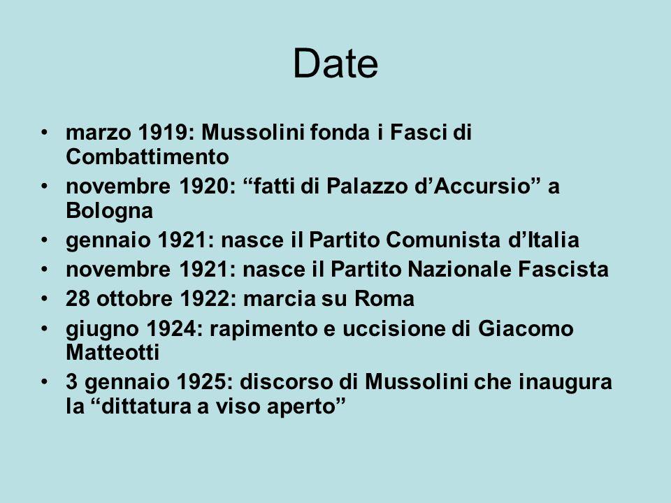 Date marzo 1919: Mussolini fonda i Fasci di Combattimento novembre 1920: fatti di Palazzo dAccursio a Bologna gennaio 1921: nasce il Partito Comunista dItalia novembre 1921: nasce il Partito Nazionale Fascista 28 ottobre 1922: marcia su Roma giugno 1924: rapimento e uccisione di Giacomo Matteotti 3 gennaio 1925: discorso di Mussolini che inaugura la dittatura a viso aperto