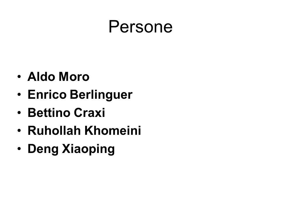 Persone Aldo Moro Enrico Berlinguer Bettino Craxi Ruhollah Khomeini Deng Xiaoping