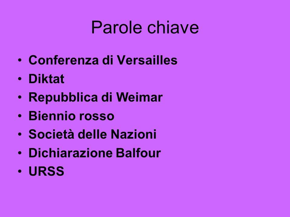 Parole chiave Conferenza di Versailles Diktat Repubblica di Weimar Biennio rosso Società delle Nazioni Dichiarazione Balfour URSS