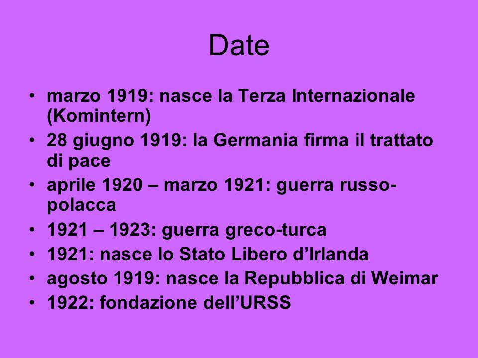 Date marzo 1919: nasce la Terza Internazionale (Komintern) 28 giugno 1919: la Germania firma il trattato di pace aprile 1920 – marzo 1921: guerra russo- polacca 1921 – 1923: guerra greco-turca 1921: nasce lo Stato Libero dIrlanda agosto 1919: nasce la Repubblica di Weimar 1922: fondazione dellURSS