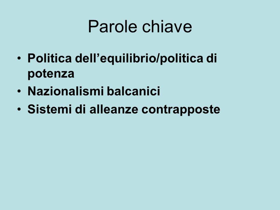 Parole chiave Politica dellequilibrio/politica di potenza Nazionalismi balcanici Sistemi di alleanze contrapposte