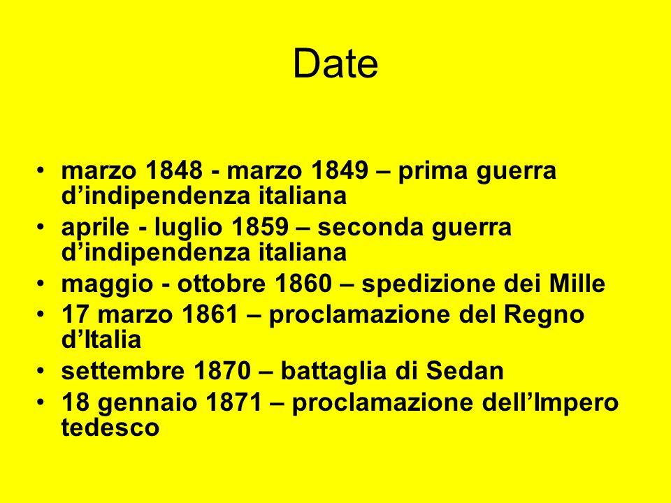 Date marzo 1848 - marzo 1849 – prima guerra dindipendenza italiana aprile - luglio 1859 – seconda guerra dindipendenza italiana maggio - ottobre 1860