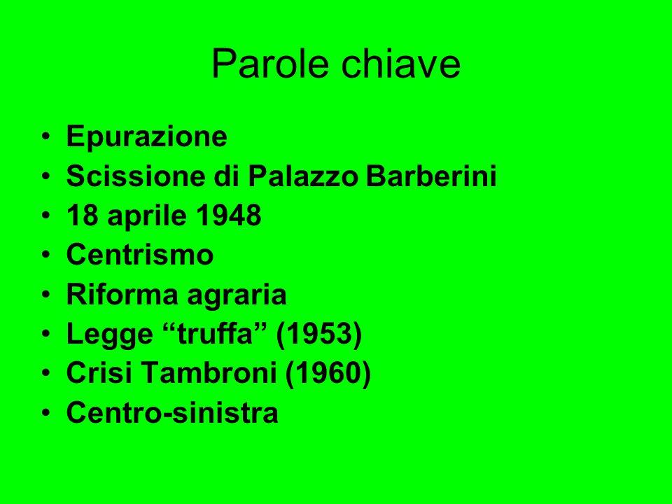 Parole chiave Epurazione Scissione di Palazzo Barberini 18 aprile 1948 Centrismo Riforma agraria Legge truffa (1953) Crisi Tambroni (1960) Centro-sini