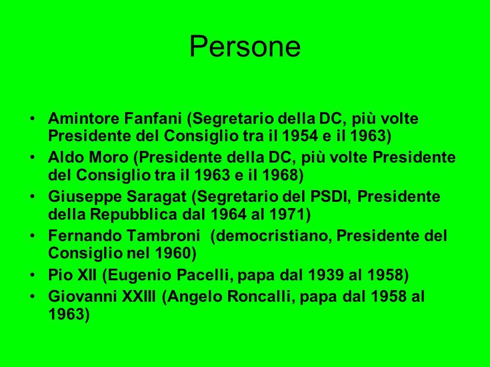 Persone Amintore Fanfani (Segretario della DC, più volte Presidente del Consiglio tra il 1954 e il 1963) Aldo Moro (Presidente della DC, più volte Pre