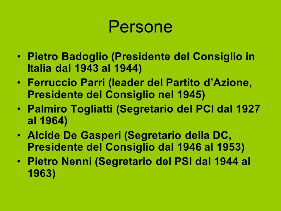 Persone Pietro Badoglio (Presidente del Consiglio in Italia dal 1943 al 1944) Ferruccio Parri (leader del Partito dAzione, Presidente del Consiglio ne