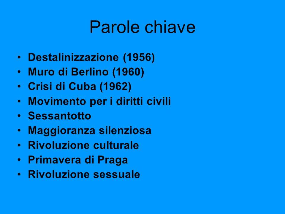 Parole chiave Destalinizzazione (1956) Muro di Berlino (1960) Crisi di Cuba (1962) Movimento per i diritti civili Sessantotto Maggioranza silenziosa R