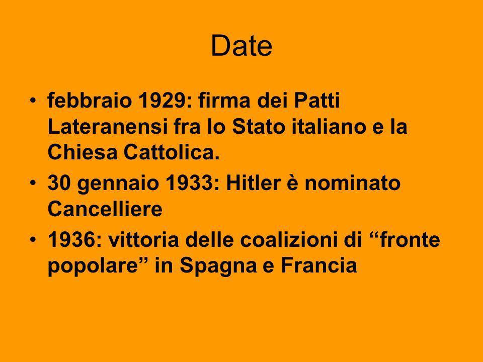 Date febbraio 1929: firma dei Patti Lateranensi fra lo Stato italiano e la Chiesa Cattolica. 30 gennaio 1933: Hitler è nominato Cancelliere 1936: vitt