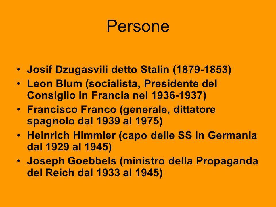 Persone Josif Dzugasvili detto Stalin (1879-1853) Leon Blum (socialista, Presidente del Consiglio in Francia nel 1936-1937) Francisco Franco (generale