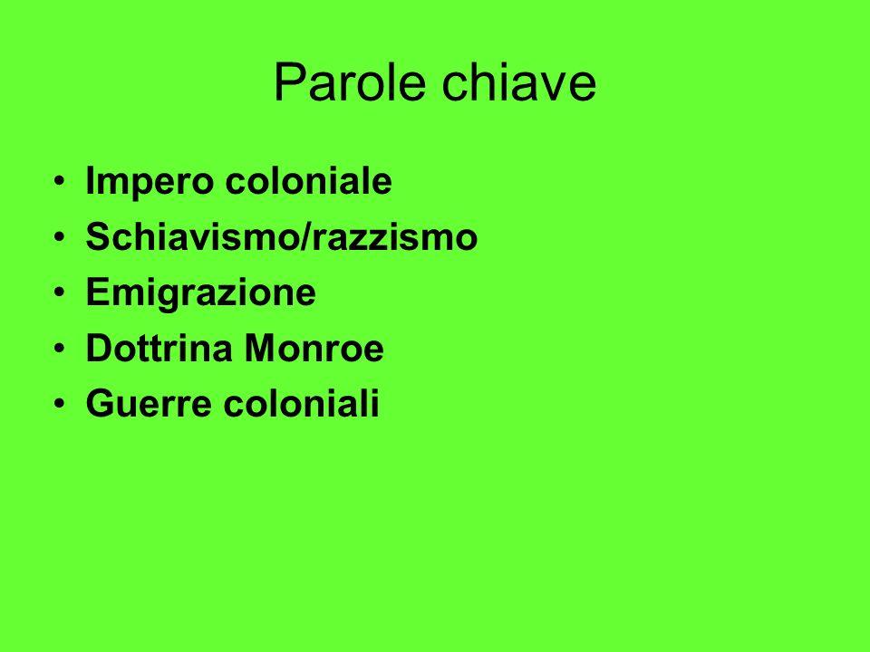 Parole chiave Impero coloniale Schiavismo/razzismo Emigrazione Dottrina Monroe Guerre coloniali