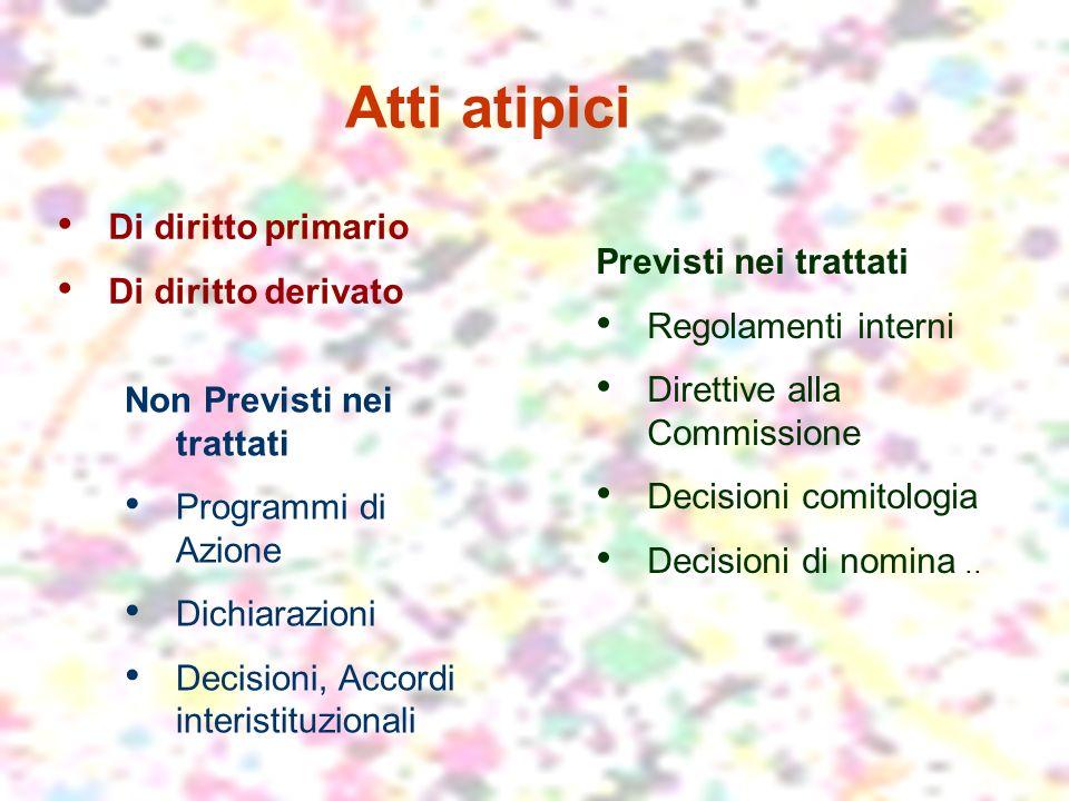 Atti atipici Previsti nei trattati Regolamenti interni Direttive alla Commissione Decisioni comitologia Decisioni di nomina..