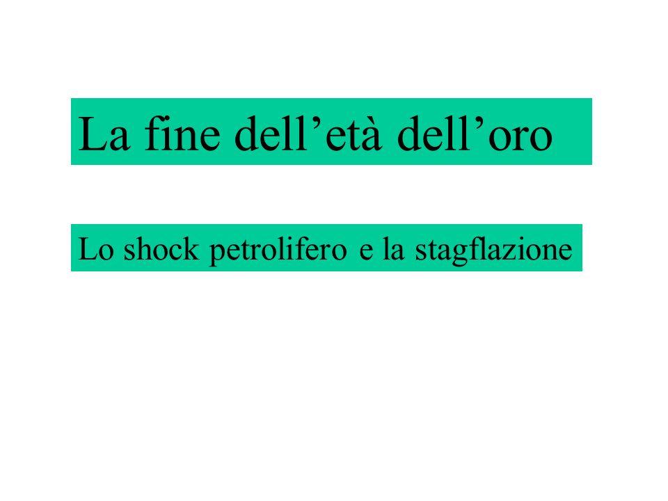La fine delletà delloro Lo shock petrolifero – la stagflazione La fine delletà delloro Lo shock petrolifero e la stagflazione