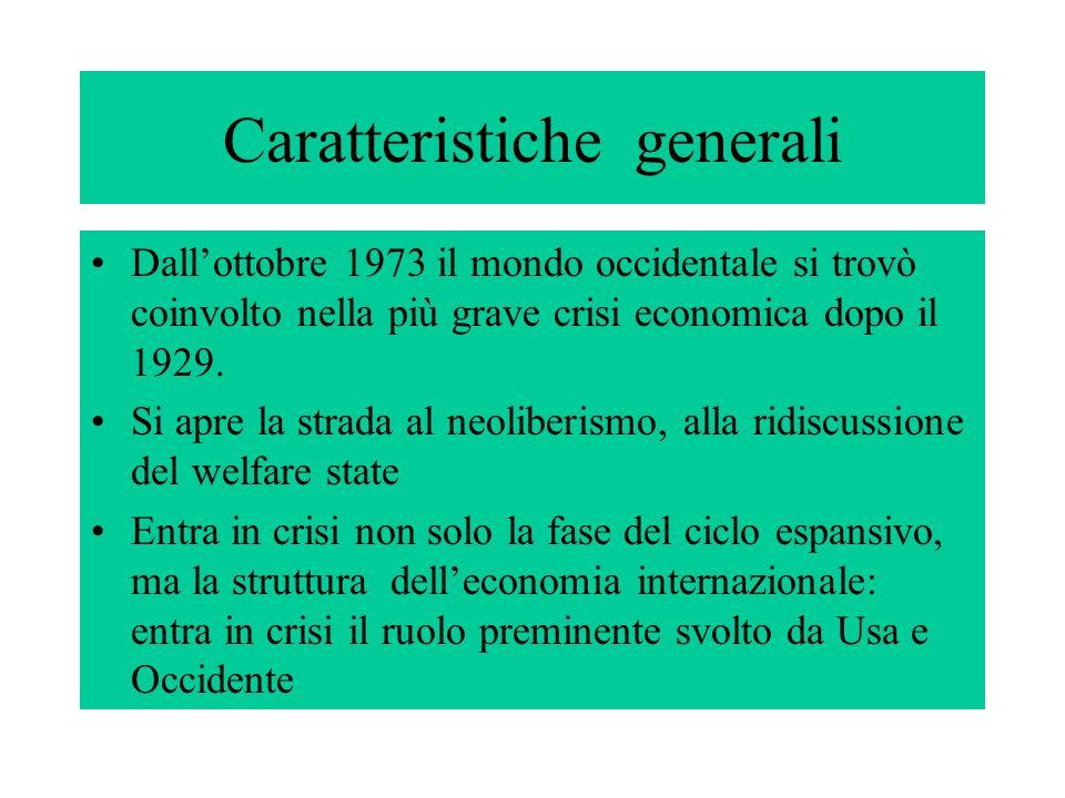 Caratteristiche generali Dallottobre 1973 il mondo occidentale si trovò coinvolto nella più grave crisi economica dopo il 1929. Si apre la strada al n