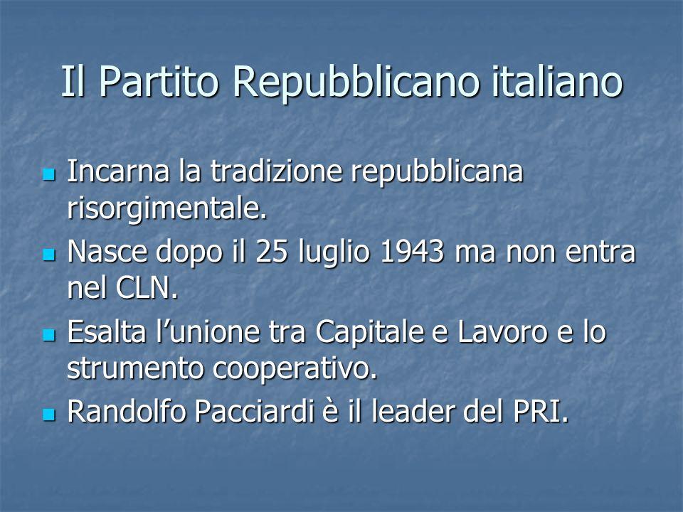 Il Partito Repubblicano italiano Incarna la tradizione repubblicana risorgimentale. Incarna la tradizione repubblicana risorgimentale. Nasce dopo il 2