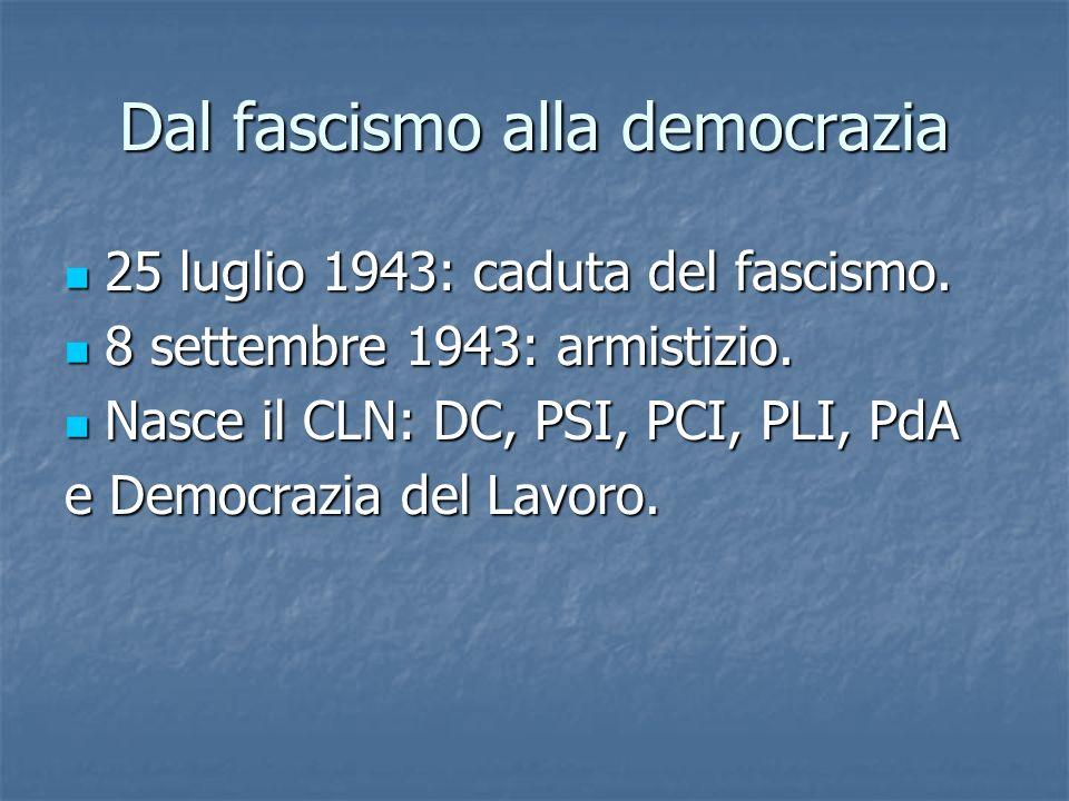 Dal fascismo alla democrazia 25 luglio 1943: caduta del fascismo. 25 luglio 1943: caduta del fascismo. 8 settembre 1943: armistizio. 8 settembre 1943: