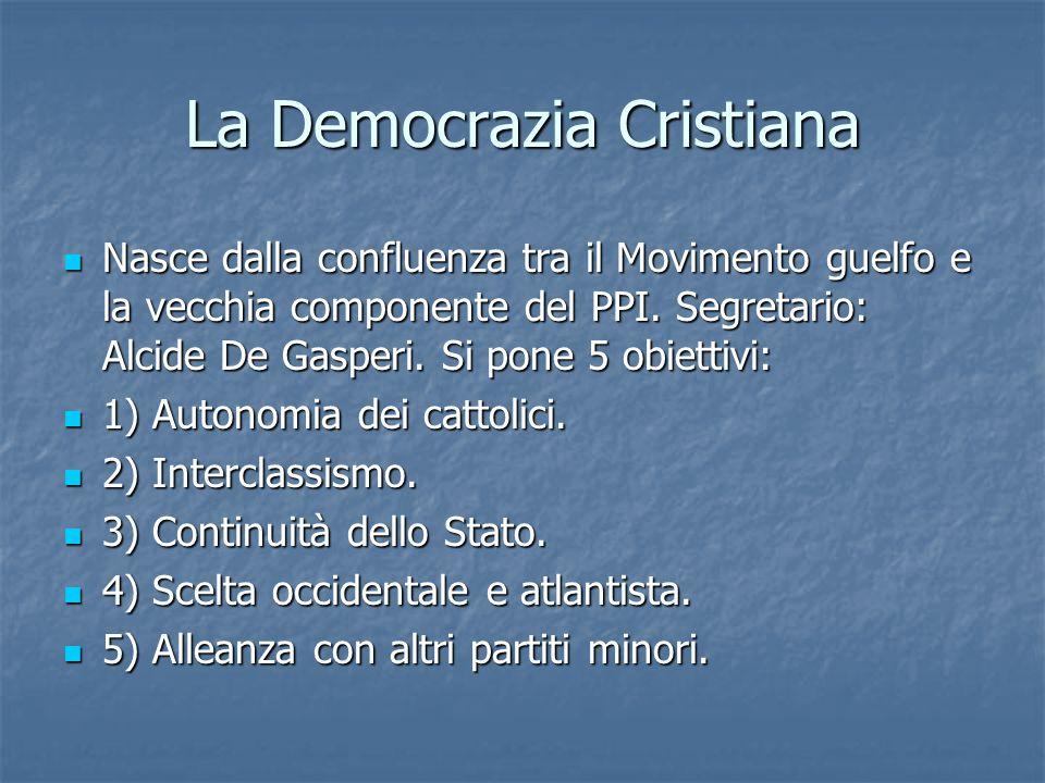 La Democrazia Cristiana Nasce dalla confluenza tra il Movimento guelfo e la vecchia componente del PPI. Segretario: Alcide De Gasperi. Si pone 5 obiet