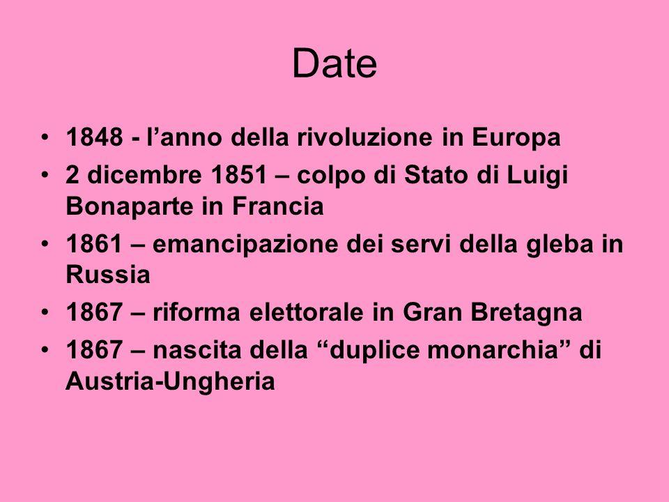 Date 1848 - lanno della rivoluzione in Europa 2 dicembre 1851 – colpo di Stato di Luigi Bonaparte in Francia 1861 – emancipazione dei servi della gleb